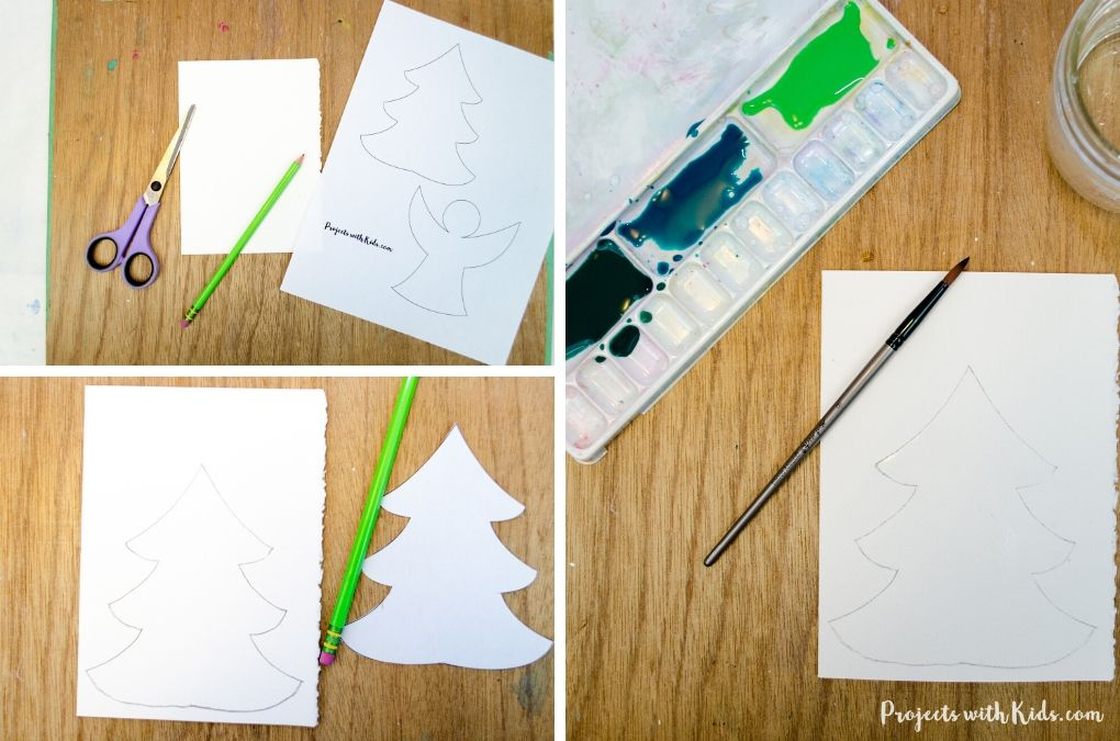 Drawing a Christmas tree using a template onto watecolor paper.