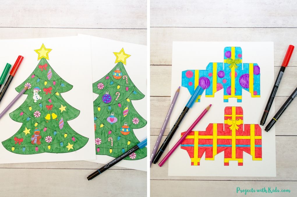 Colored in printable Christmas tree and presents