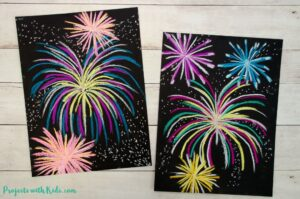 Chalk pastel fireworks art project on black paper