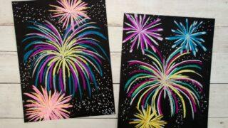 Festive Chalk Pastel Fireworks Art Project