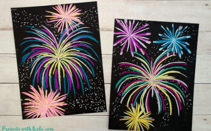 Chalk pastel fireworks art project on black paper