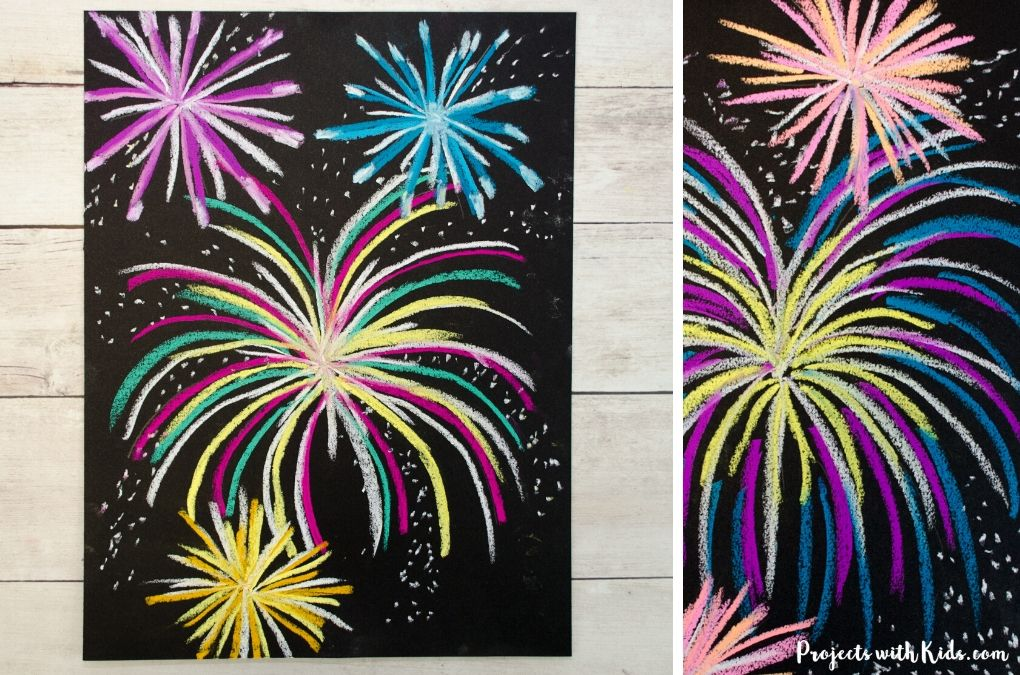 Chalk pastel fireworks art project for kids to make.