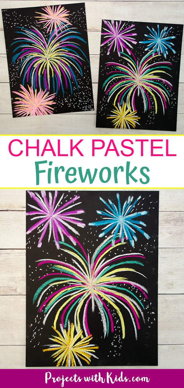 Chalk pastel fireworks art project for kids