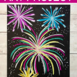 Easy fireworks art project using chalk pastels.