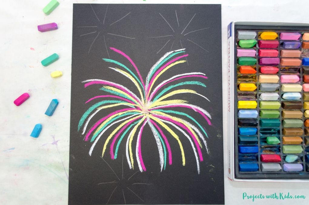 Fireworks drawing with chalk pastels
