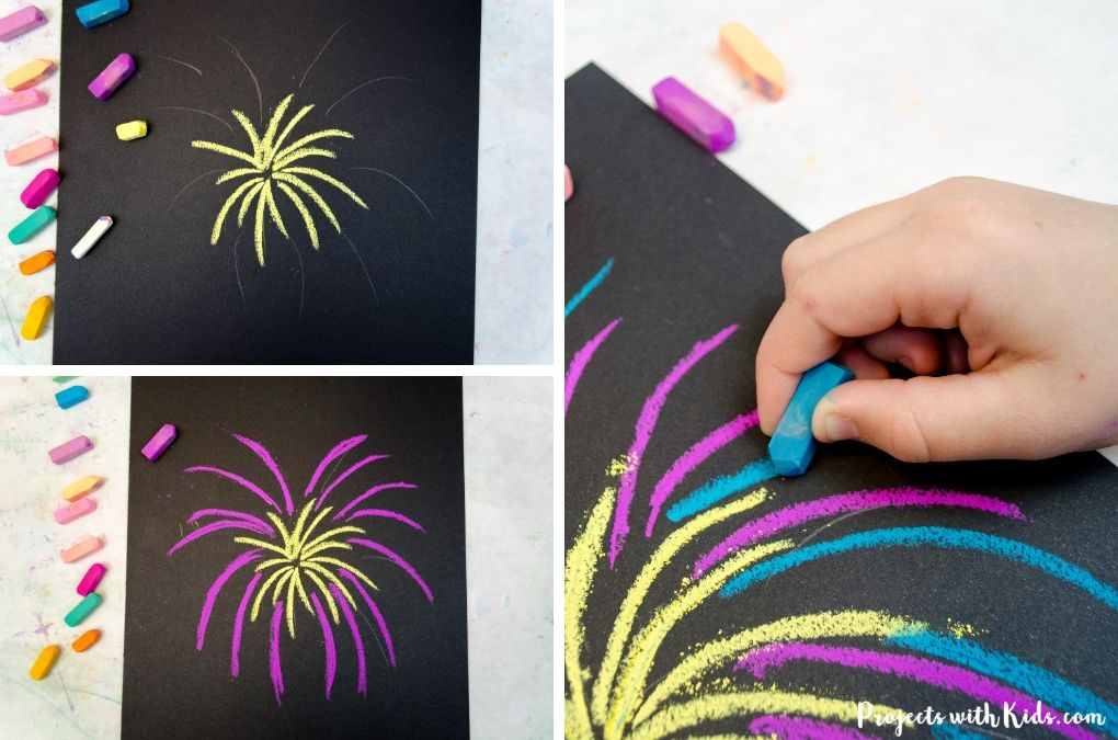 Drawing a yellow, pink and blue firework with chalk pastels.