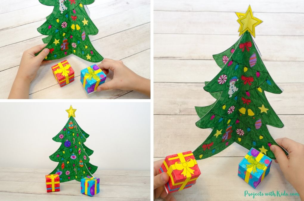 3D Christmas tree paper craft for pretend play