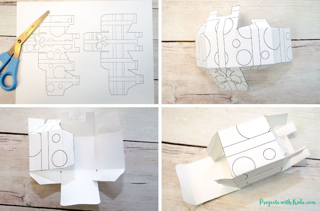 Cutting and assembling a present box printable for pretend play