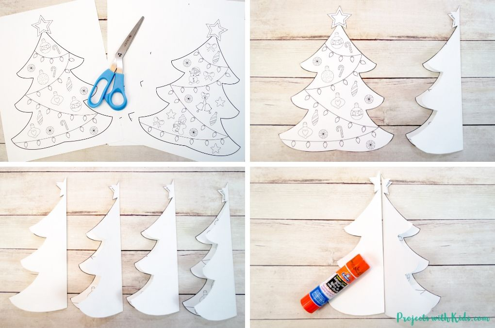 Cutting and gluing together a 3D Christmas tree paper craft.