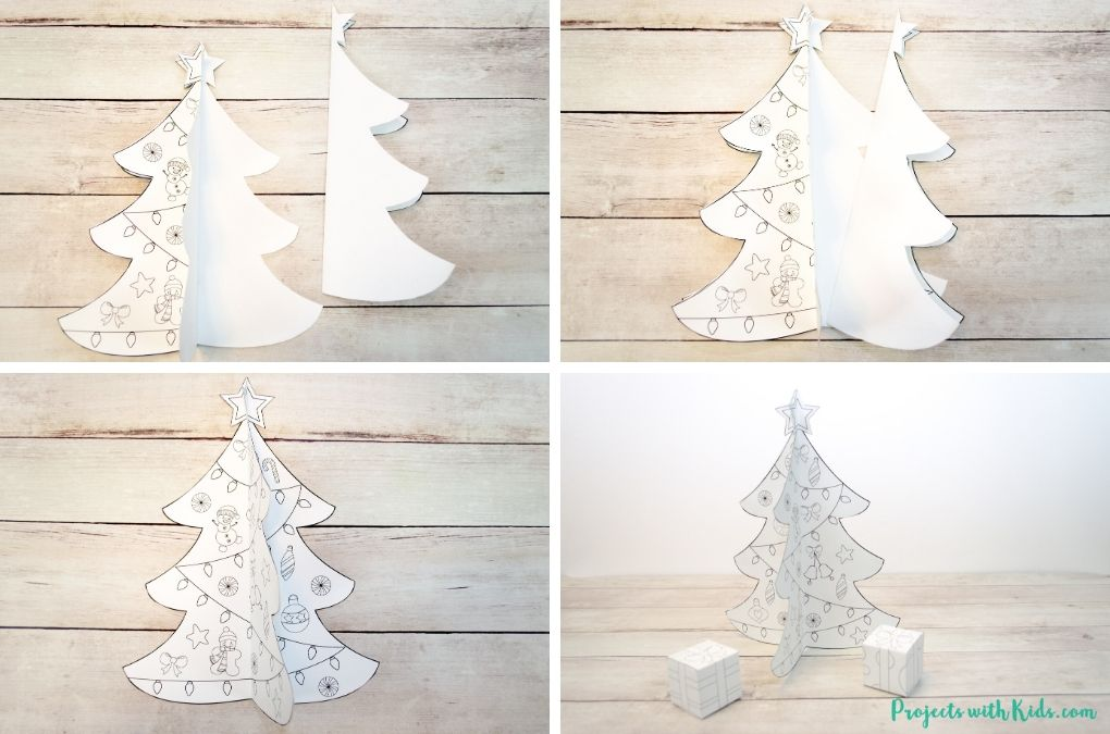 Finished putting together a 3D paper Christmas tree craft