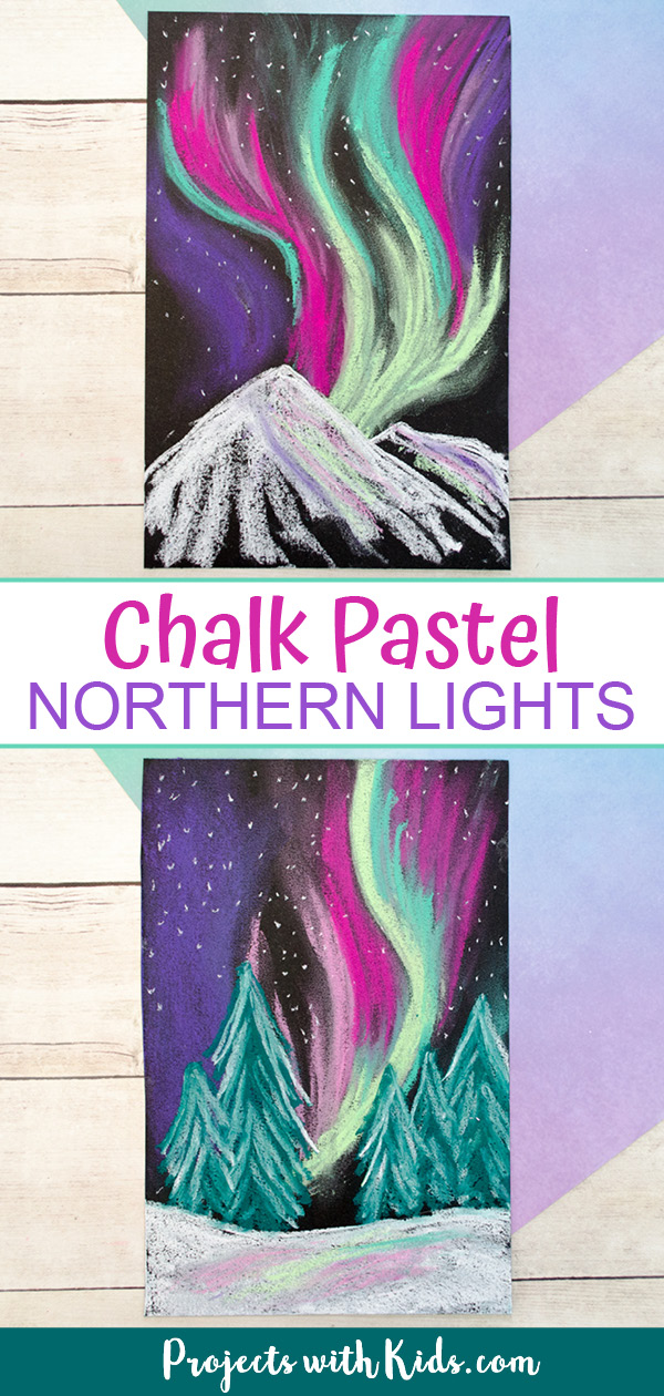 Northern lights chalk pastel art winter landscape for kids to create
