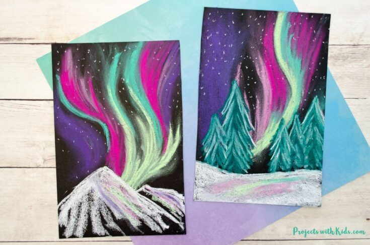 Northern lights chalk pastel art project for kids.
