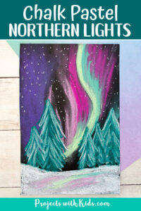 Northern lights painting with snow covered trees.
