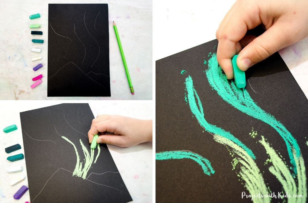 Drawing with green pastel on black paper.