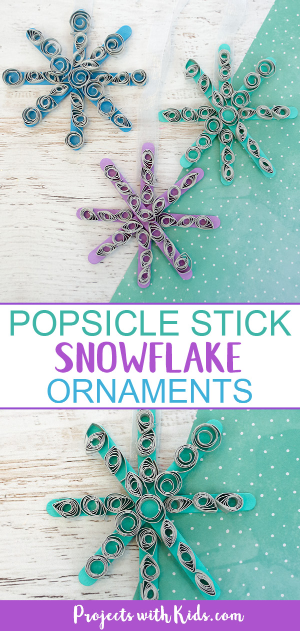 Popsicle stick snowflakes ornament craft for kids