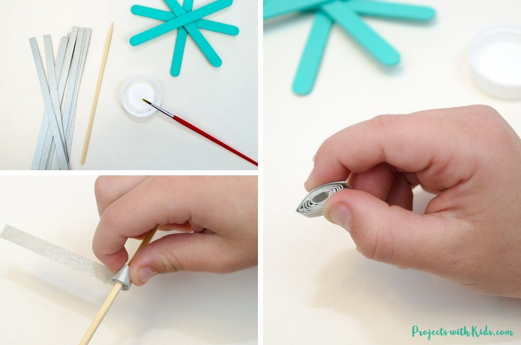 Making paper quills with silver cardstock.