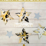 Spin painting stars New Year's banner craft