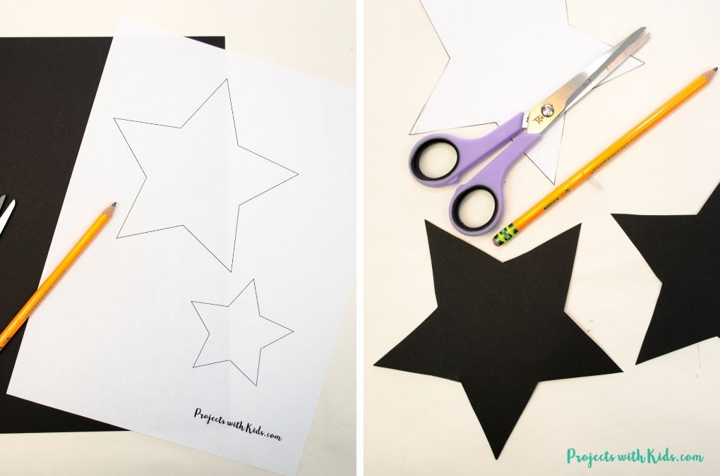 Star templates cut out of black cardstock.