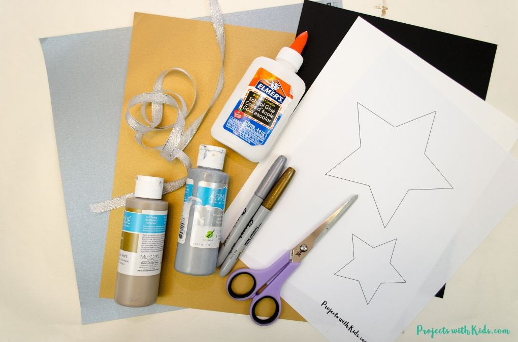 Supplies to make a New Year's Eve banner