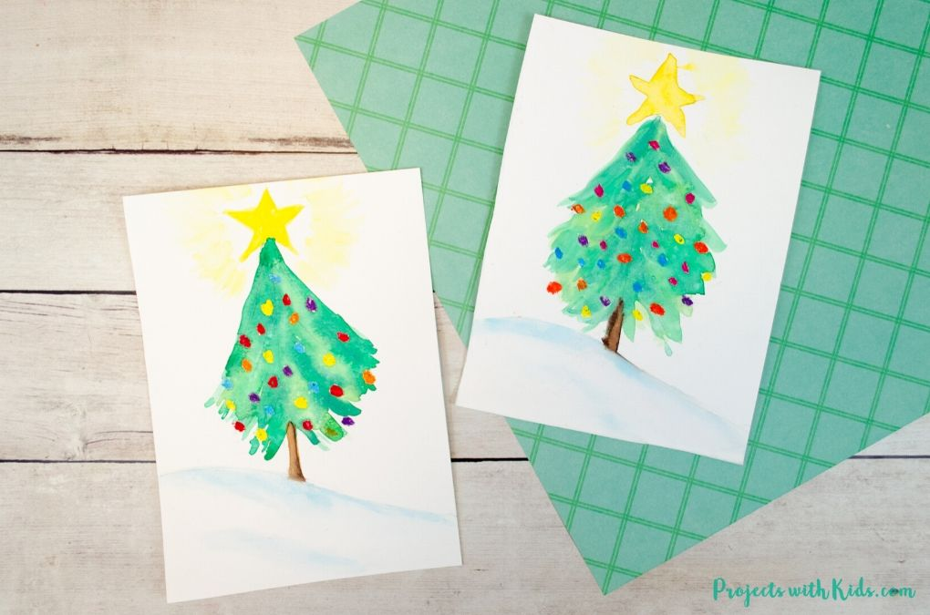 Watercolor Christmas tree painting for kids to make.