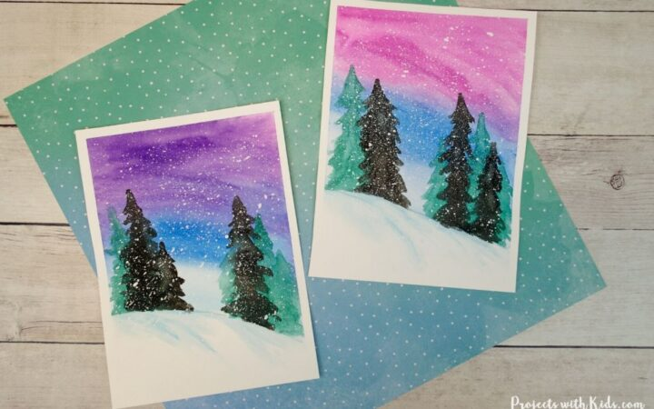 simple winter watercolor painting