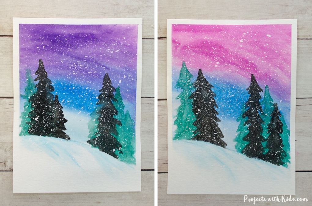 Finished painting of a simple winter watercolor art project for kids