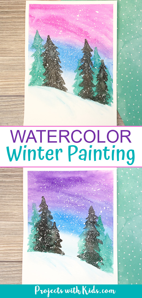Simple winter watercolor art project for kids to paint.