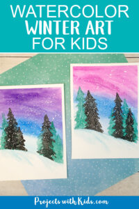 Winter watercolor art project for kids.