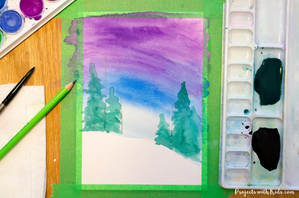 Watercolor winter art project.