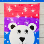 Winter mixed media painting with polar bear and snowflakes
