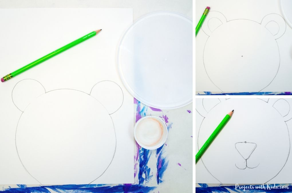 How to draw a polar bear using plastic lids as a template