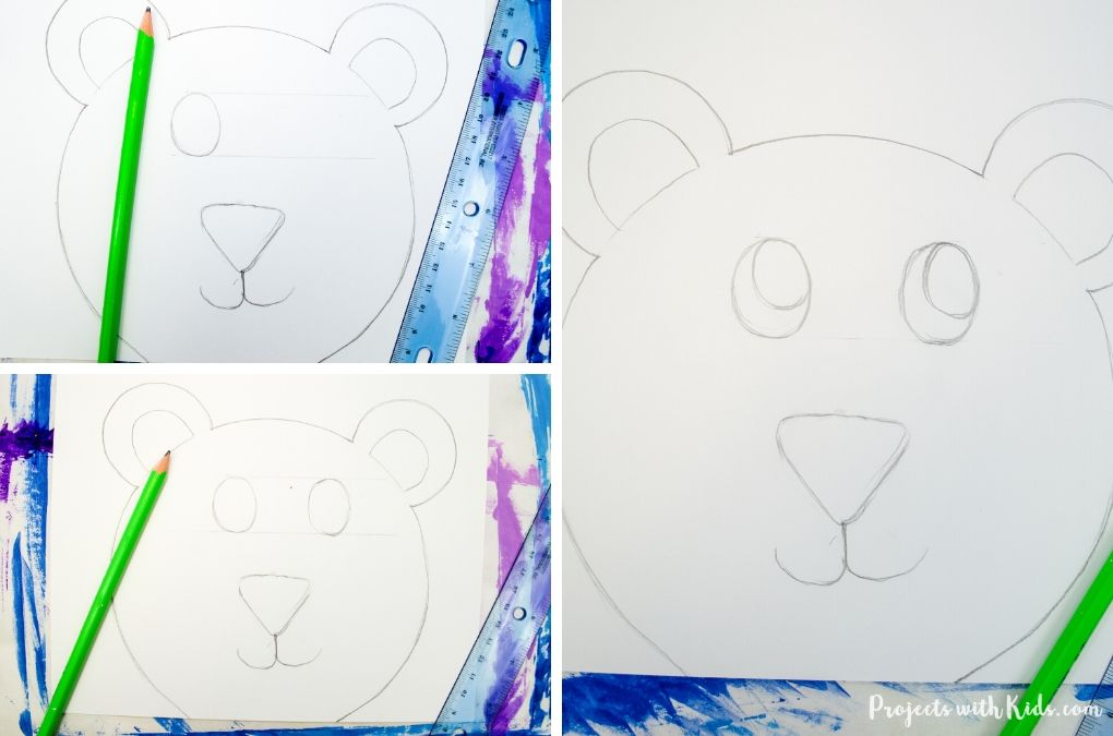 Finish drawing a polar bear face with pencil.