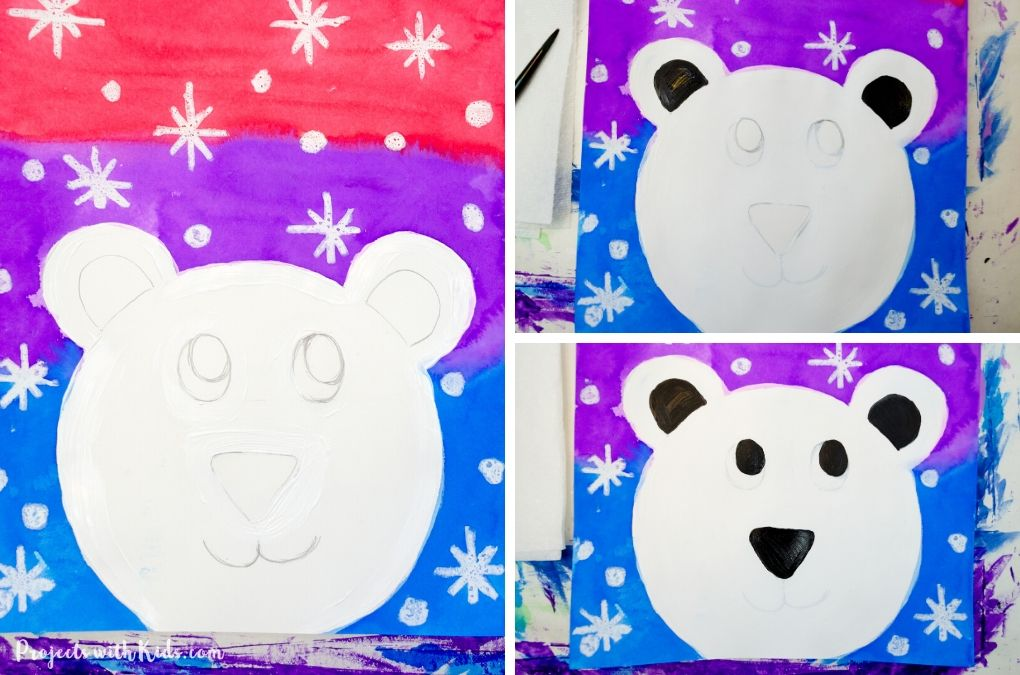 Painting in black details to a polar bear face.