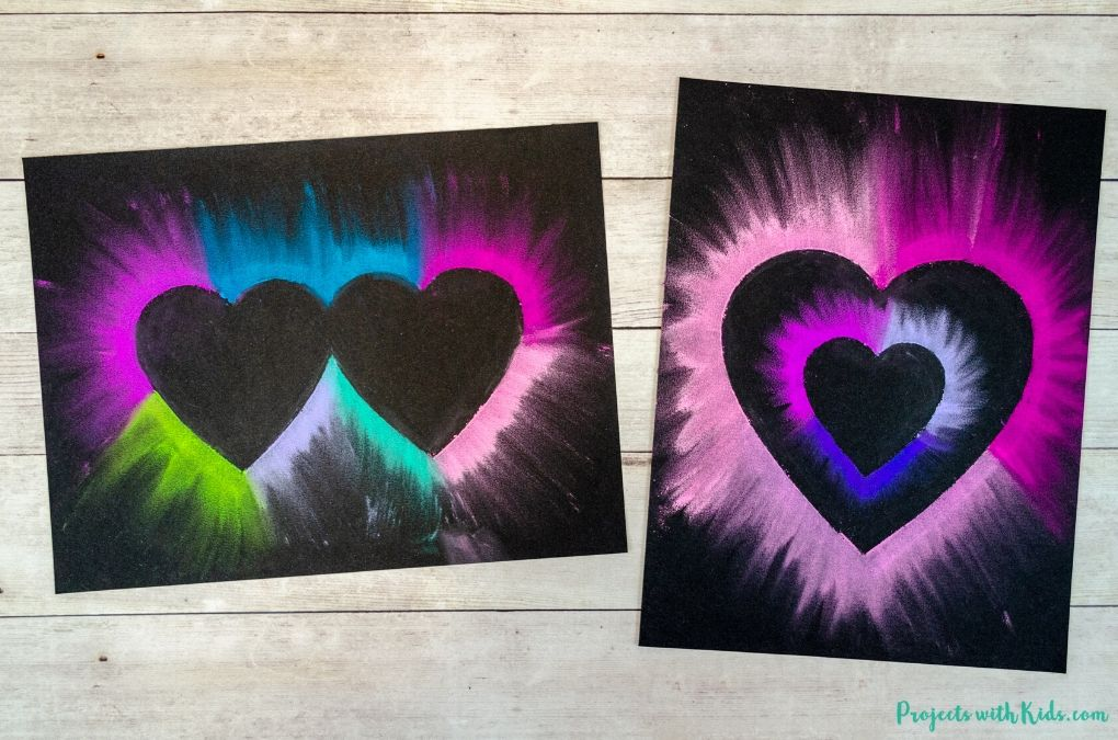 Colorful chalk pastel heart art for Valentine's Day