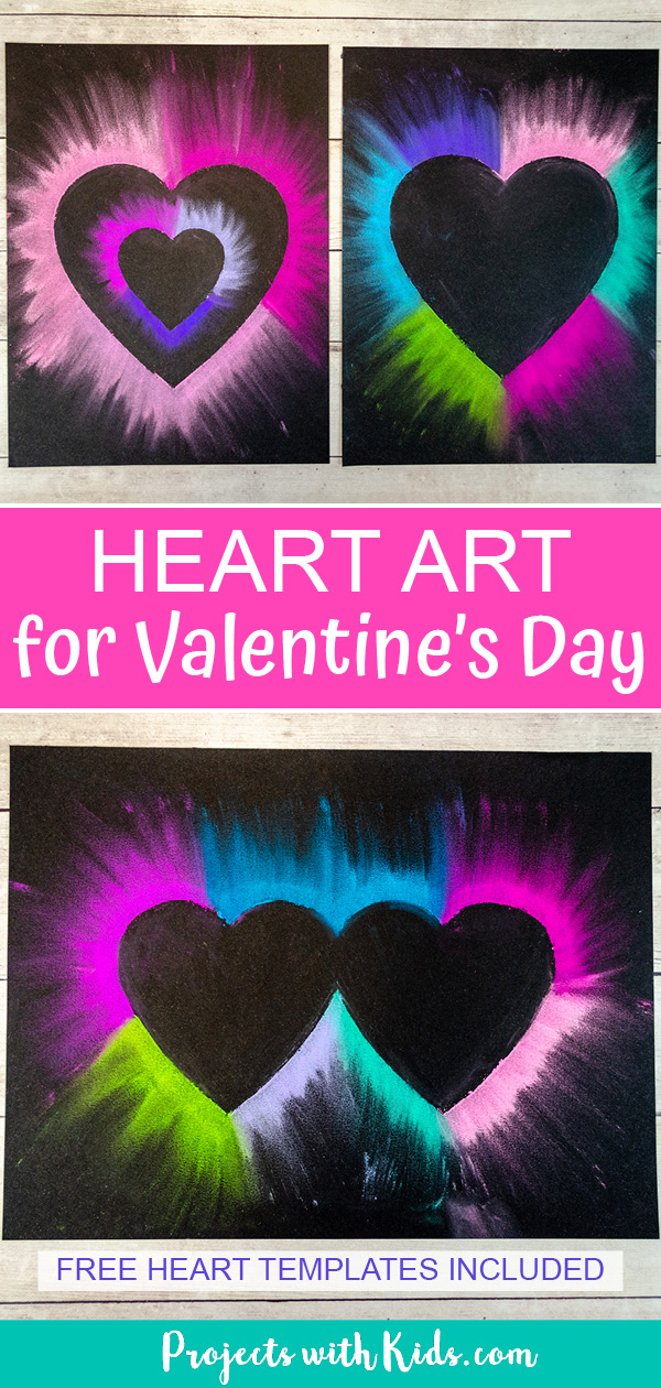 Chalk pastel heart art for kids to make