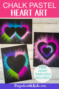 Heart art project for Valentine's Day with pastels