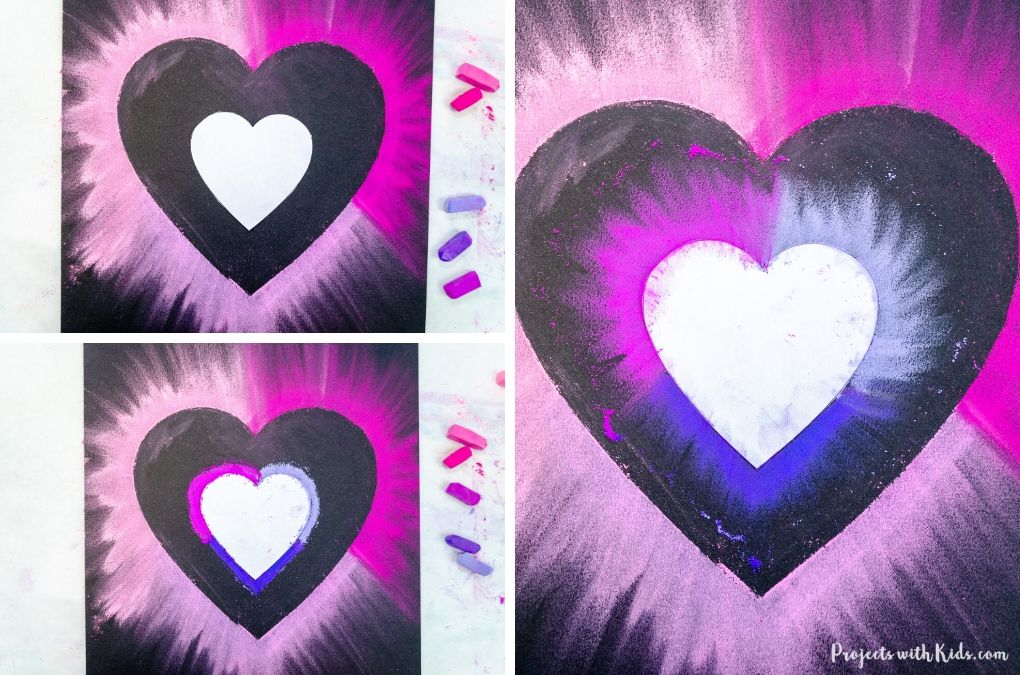 Using chalk pastels to make a Valentine's Day art project