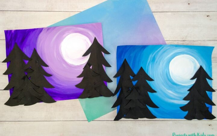 Mixed media winter art project for kids to make