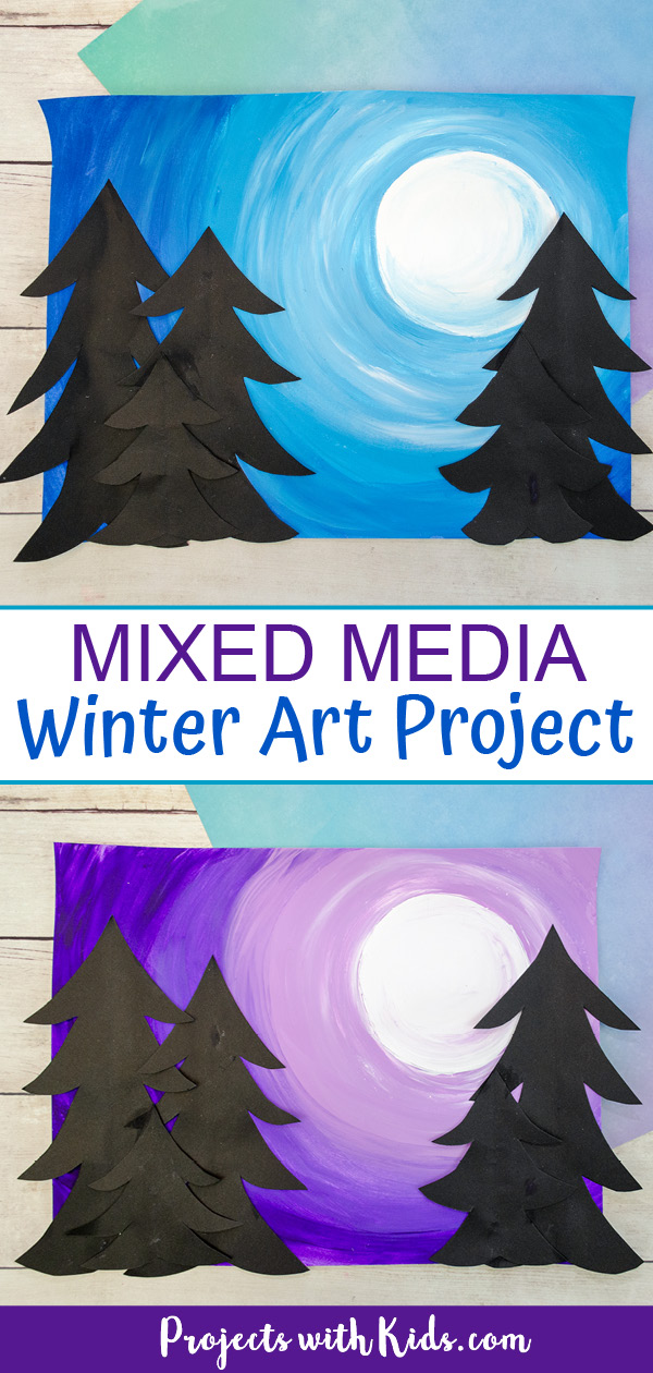 Mixed media art project for kids to make with a full moon winter sky and paper evergreen trees.
