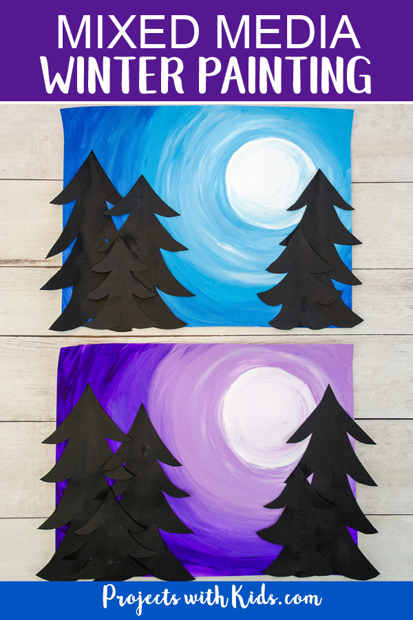 Winter sky painting with paper evergreen trees