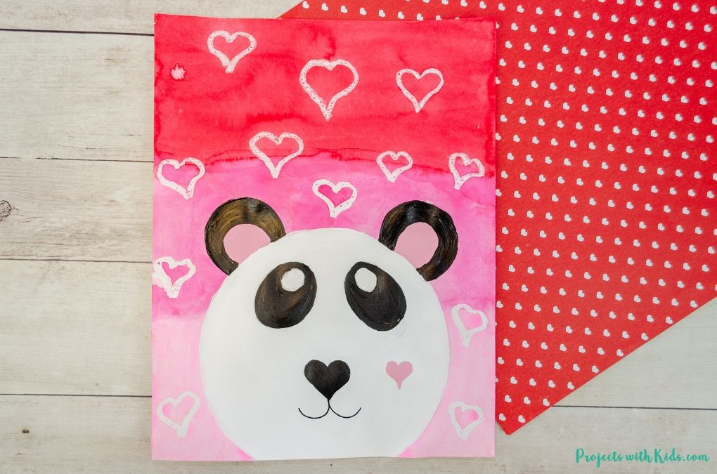 Mixed media panda bear painting for Valentine's Day