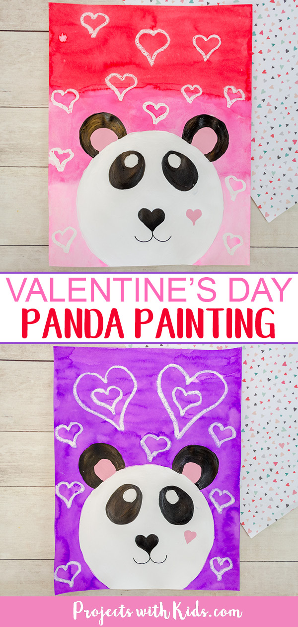 Panda art project for kids to make for Valentine's Day