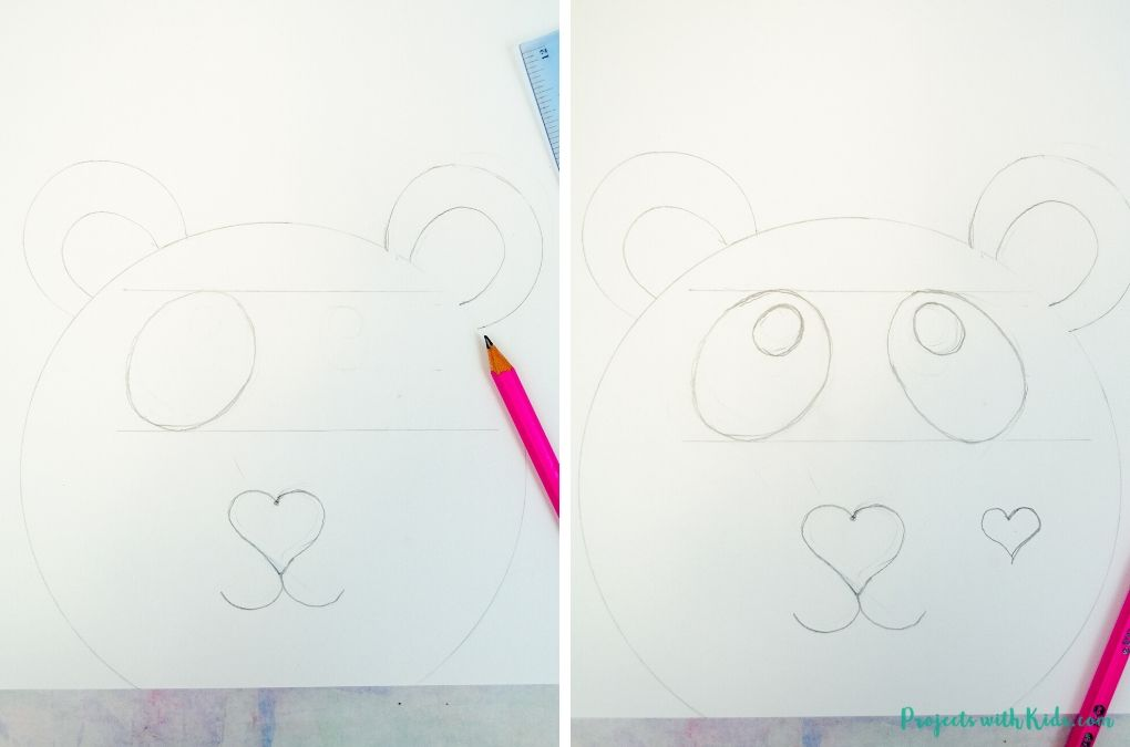 Drawing a panda bear face with a pencil on white cardstock