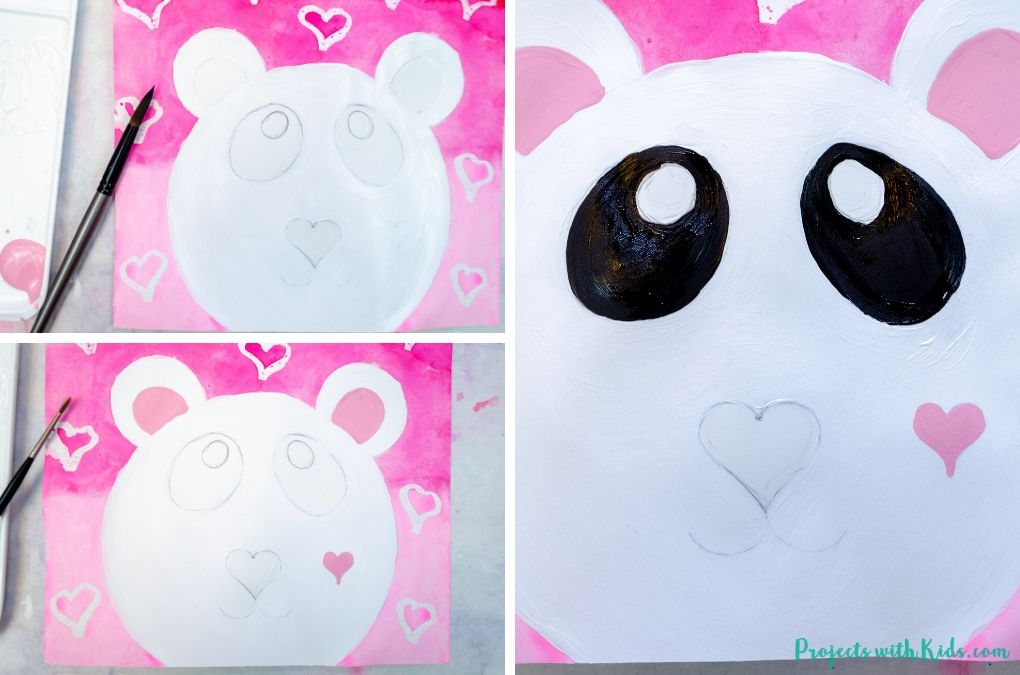 Painting a panda bear face with acrylic paint