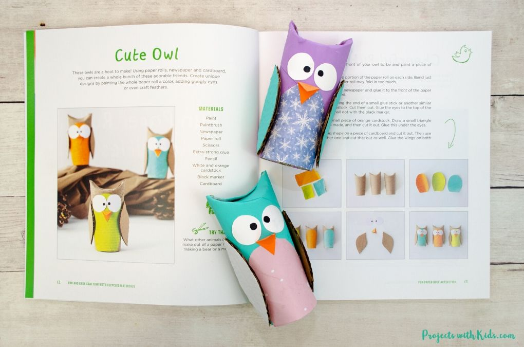 Book open to an owl craft