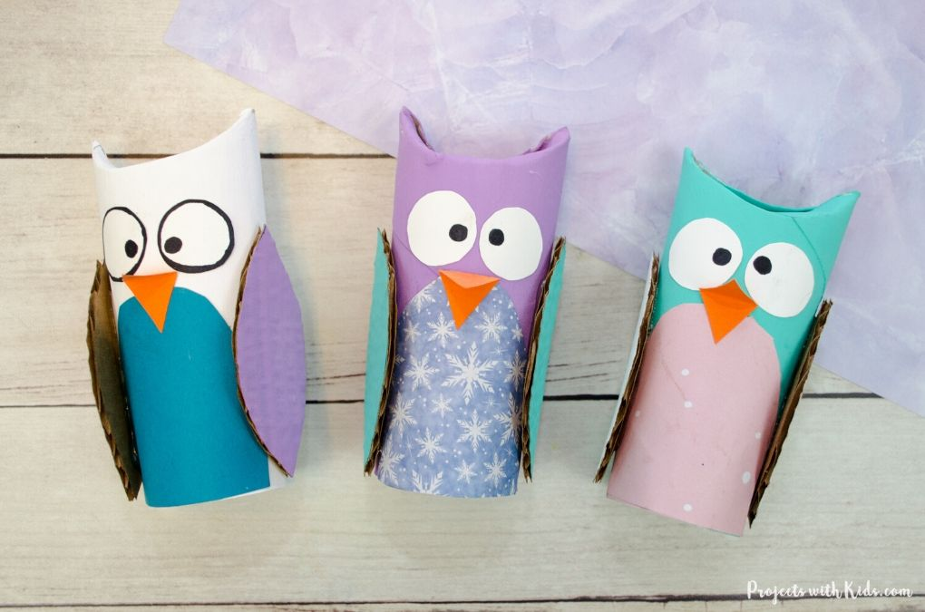 Toilet paper roll owl craft for kids to make
