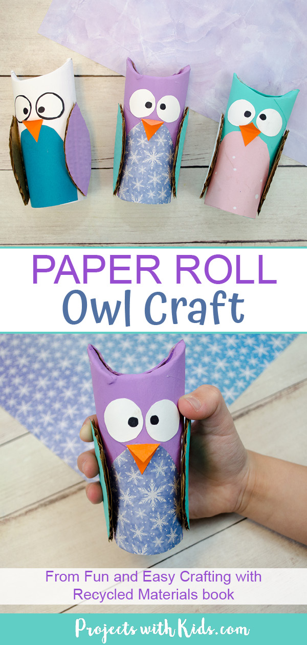 Paper roll owl craft for kids to make