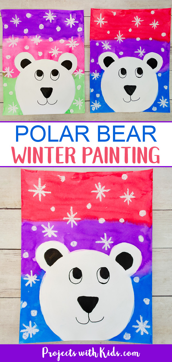 Polar bear winter painting art project for kids