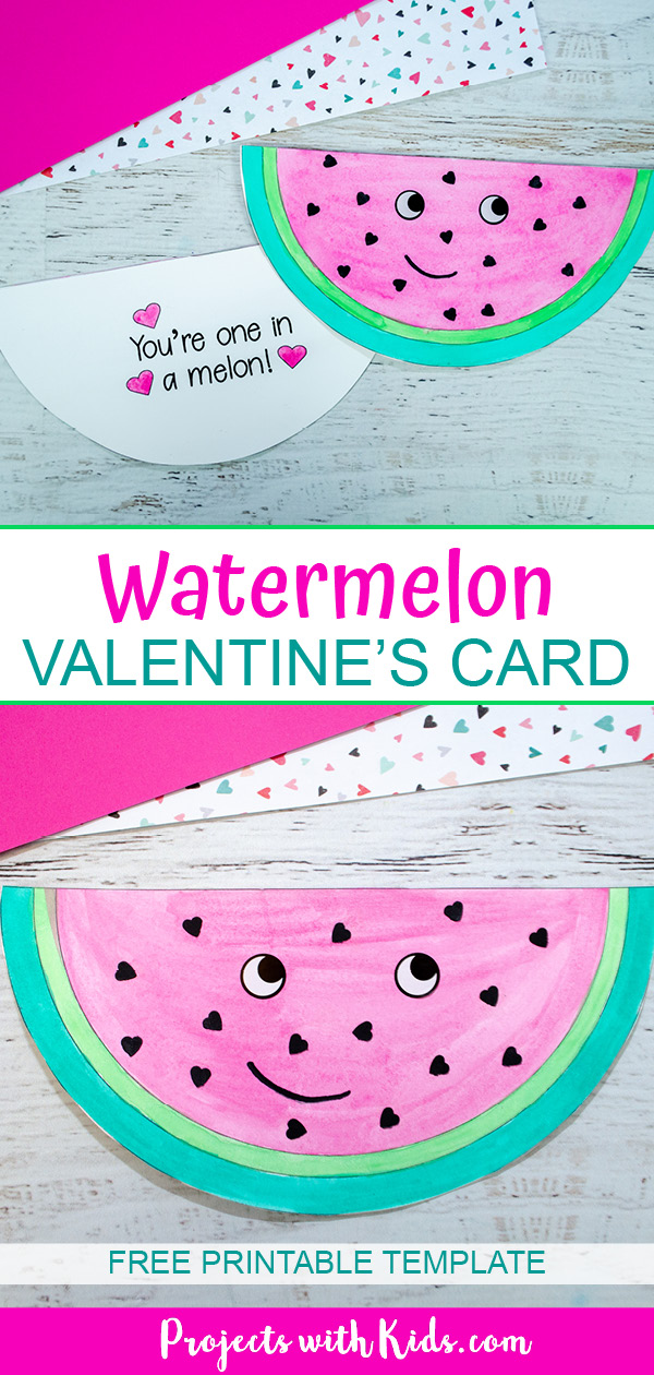 watermelon card craft for kids to make with printable template