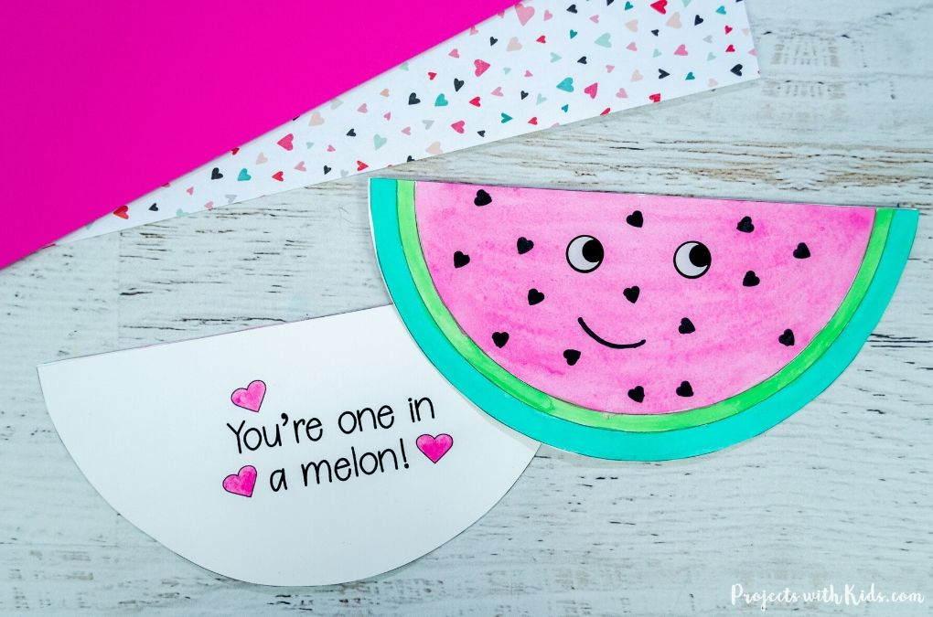 Watermelon Valentine's Day card craft for kids to make